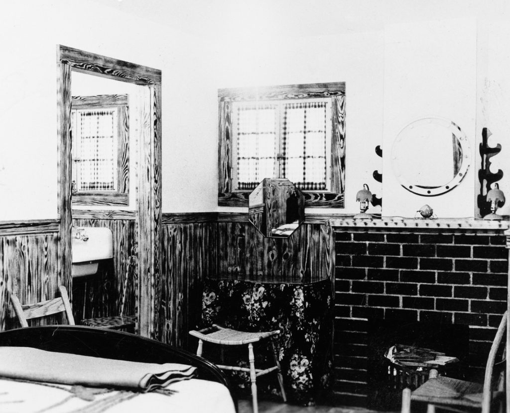 Inside Bower riverside cabin off Route 340, circa 1939.