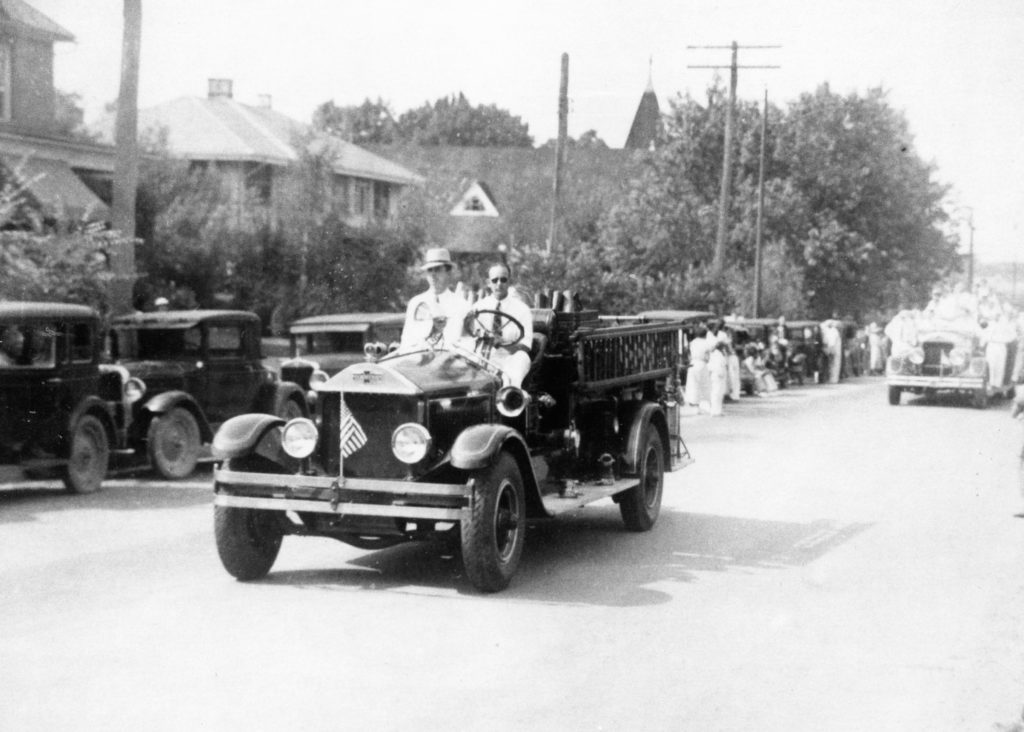 A firetruck at the 1936 Warren County Centennial Parade, 1936.