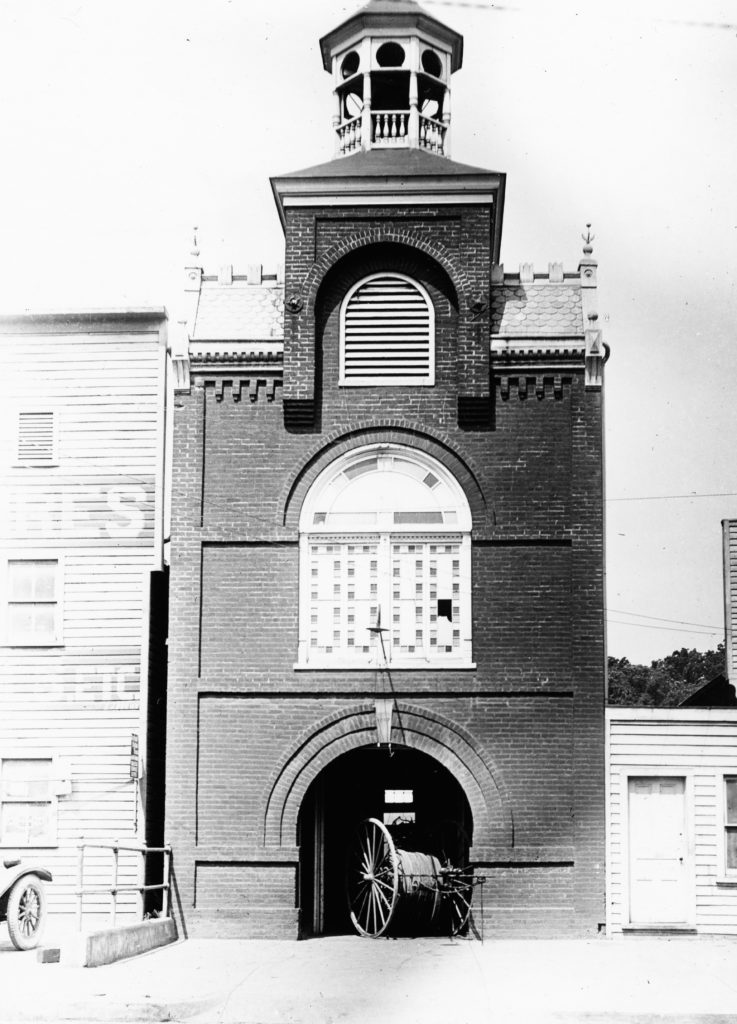 Firehouse at South Royal Avenue, Front Royal, circa 1920.