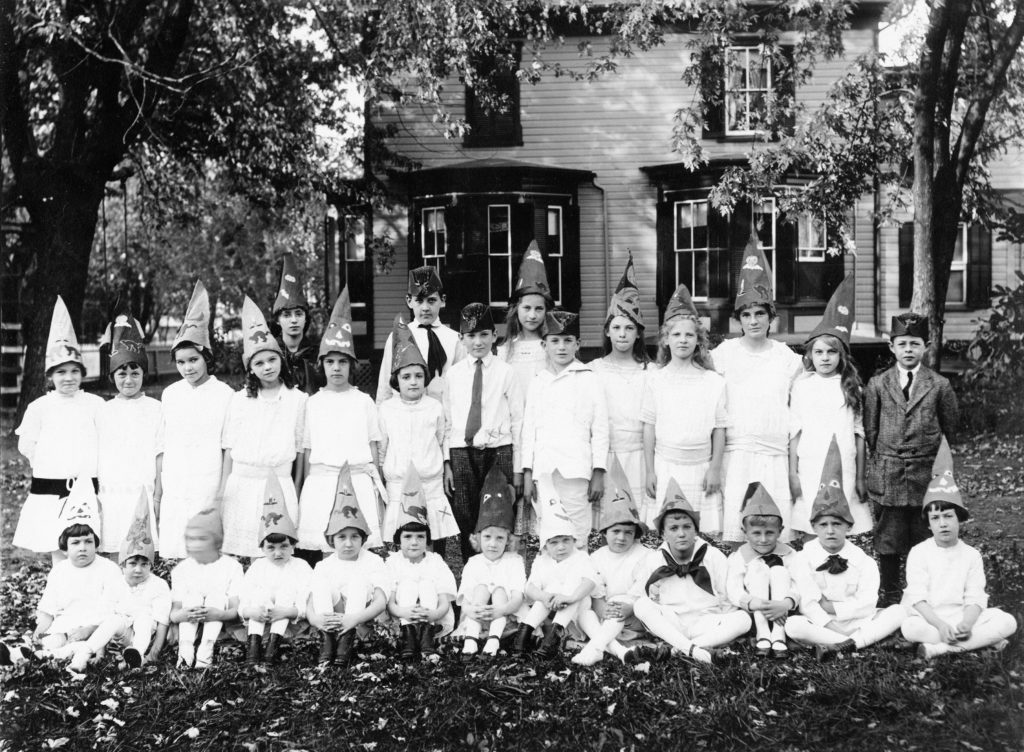 Harnsberger birthday party, Crescent Street in Front Royal, circa 1915. Front row, from left: Julia Harnsberger, unidentified, Elizabth Jackson, Phyllie Richardson, Constance Buckley, Helen Weaver, Margaret Olmstead, unidentified, Louisa Carson, Billy Carson, Whitside Miller, Rolfe Pochon, Neville Hamsberger. Back row: Emily Thompson, Betsy Payne, Roberta Kendrick, Catherine Weaver, Catherine Kipps, Evelyn Weaver, Laura Trout, Humphrey Harnsberger, Henry Trout, Lillian Whiteside, Warren Whitside, two unidentified, Elaine Whiteside, Margaret Downing, Byrne Downing.