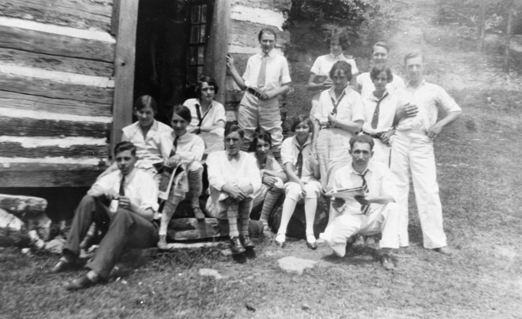 Young members of the Front Royal Methodist Church camping at Powell's Fort, circa 1926.