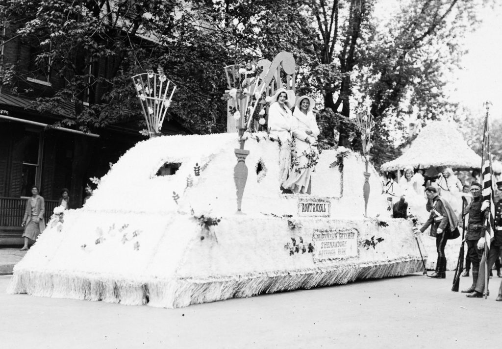 Northern Gateway Shenandoah National Park float at the Centennial Celebration of Warren County, Front Royal, August 9, 1936.