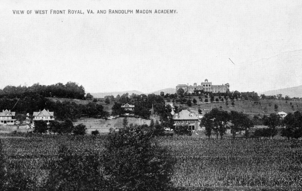 View of west Front Royal and Randolph-Macon Academy, circa 1922.