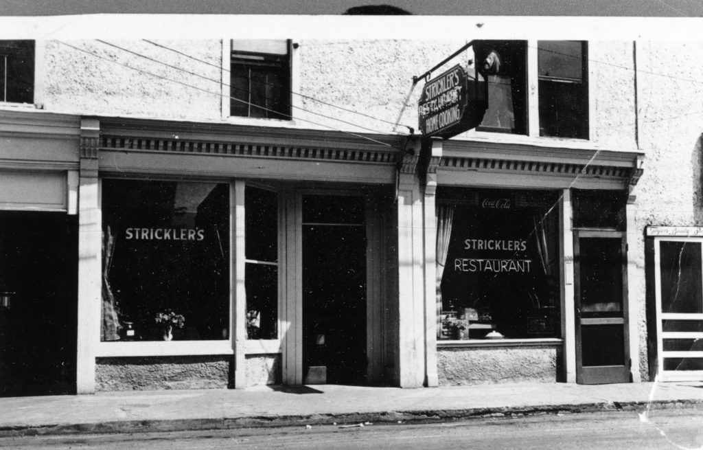 Strickler's Restaurant at 108 East Main Street, Front Royal, owned by Paul and Dora Stricker, circa 1938.