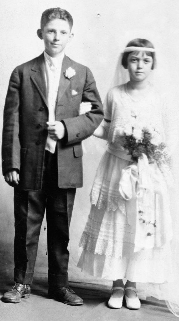 Wallace B. Thomason and Helen Bowman at a shower for Flora Haskins, circa 1923.