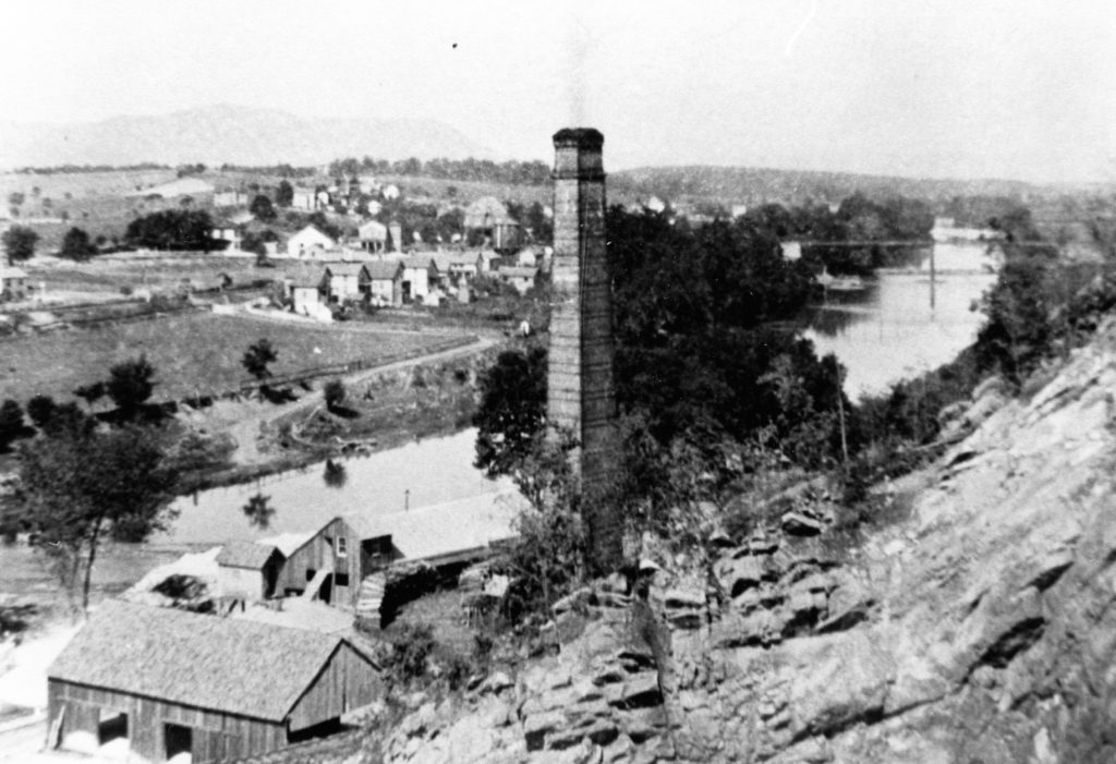 View of Riverton village from the Riverton Lime Company, circa 1905.