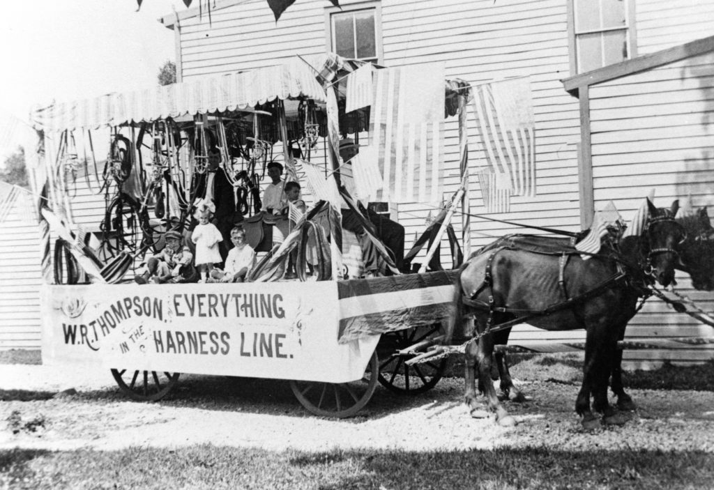 William Rust Thompson family's 1919 parade float for their family harness shop at 111 Main Street, Front Royal.