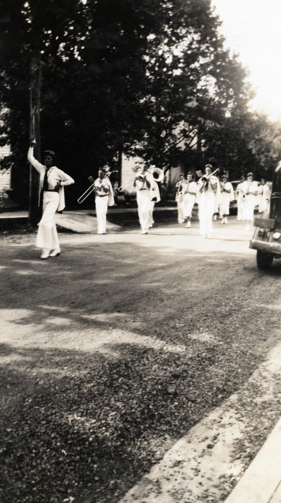 Warren County High School band at the Centennial Celebration of Warren County, Front Royal, August 9, 1936.